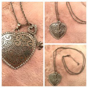 🌸 TORRID SILVER-TONE HEART & KEY NECKLACE
